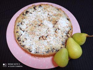 Crostata sbriciolata cioccolato e pere